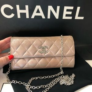CHANEL Light Rose Metallic CC Logo Wallet On Chain